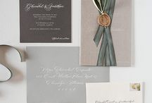 Ribbon bound Invitations with custom stamp