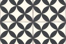 Black and white cement tiles