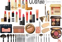 Makeup for warm or cool profiles / Sample makeup colours for lips, eyes and cheeks for warm and cool colour profiles