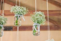 Jar and flower / Jar and flower decor. Boho, rustic style.