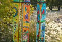 Peace poles, bird houses and fairy gardens