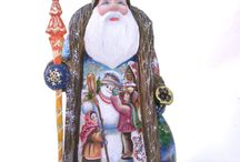 Russian Santas / Russian Santas are hand-carved from a solid piece of wood and hand-painted by decorative artists. The wood used is from the Linden tree (lime), commonly known in North America as basswood, and is carefully selected and typically dried for at least two years.