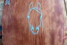 Turquoise Inlay Horse Wall Art / Redwood Slab Inlaid with Turquoise Horse head. Great for wall art or table top. My 8 year old daughter and I designed and inlaid this together. She is going to make a table out of it for her bedroom