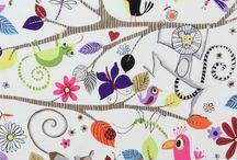 Wallpaper, fabric designs