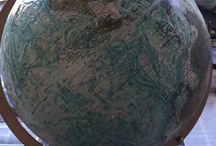 Decoupage Globe / This was a commission piece I did for a client, The globe is there bucket list of places they have been and want to go, Decoupage Globe 2015