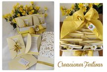 """Comunión de niña """"Decoración en Margaritas amarillas"""" / Decoración vintage con globos, telas, flores-margaritas amarillas con sombrilla, jaulas, candelabros, invitaciones artesanales, detalles recuerditos de velas, libro de firma, buzón para sobres y centros."""