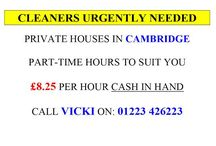 Work With Us! / Work in Cambridge. Cleaners needed!