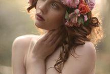 Wedding hair flower garlands