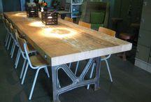 industriële tafels Coel House / Stoere tafel op maat. Boomstamtafels. Robuuste tafel