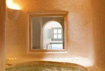 Bañeras rústicas dentro dormitorio