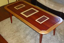 Custom design Coffee Table / Handcrafted Coffee Table made of Padauk and Purpleheart exotic woods, complimented by Maple and Cherry, Inlay top and leg design.