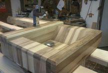 dřevěné umyvadlo