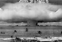 Nuclear Explosions / Old pictures of nuclear bombs and contemporary drops of white phosphorus, each of them sadly deadly…