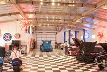 Lobo Garage_Gary's cave / Garage; diamond plate, deep red accents, splashes of Frida. / by Karen J.