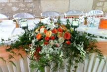 Coral and green floral Head Table