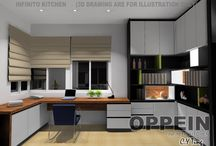 Kitchen Cabient in OPPEIN Dealer's Showroom / There are lots of kitchen cabinets for you to choose in OPPEIN, varies of  style, varies of colours, many materials, it all depends on what you like. We are willing to adjust for your advice at any time.