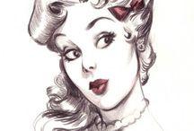 oldschool girls drawings