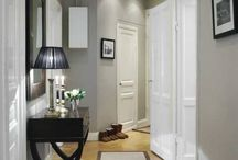 cream gray wall white trim apartment