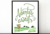 ~ Prints and printables ~ Adventure awaits hand lettered
