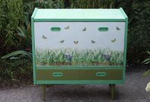 "Shoe cabinet ""Lilies and Butterflies"""