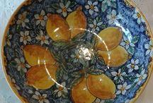 Ciotola / Spaghettiera / Insalatiera in ceramica dipinta a mano.Dec. Limoni