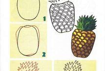 рисование фрукты,ягоды