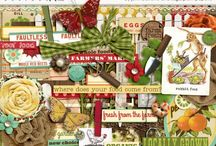 Farm & Gardening Scrapbooking Kits / Digiscrapping kits and elements with a gardening or farm theme