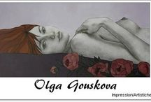 ⊱ Olga Gouskova  ⊰ / ≻ Olga Gouskova ~ Moscow, Russia, 28 July 1974≺ Often walking hand-in-hand with controversy is the sensual female form, Russian born, Belgium based - artist Olga Gouskova certainly knows how to capture an audience with her paintings of beautiful and stylish women. Gouskova's women are sexy, melancholic and mysterious, with a powerful physical intensity and a subtleness of form which almost makes you want to caress them.