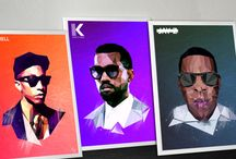 Fashion Icon Rap poster / My last work of Pharell, Kanye West and Jay-Z.