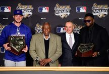 MLB's Hank Aaron Award / Photos of the prestigious Hank Aaron Award, presented annually by Major League Baseball to the most outstanding offensive performer in each league. Designed and produced by FineAwards.com