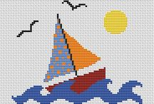 SAILBOAT-SEA*CROSS STITCH-EMBROIDERY