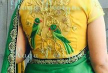 Green saree matching blouse stitch inbtm