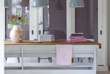 Kitchen inspiration / White, grey, sunny yellow and wood