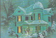 vintage and victorian  winter scenes / winter and snow vintage images