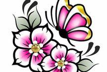 maĺované kvety vzory
