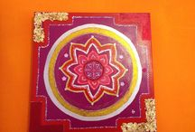 MANDALA ART: EXALTATION MANDALA / MANDALA ART ON CANVAS, ACRILICS AND SPARKLING DETAILS.
