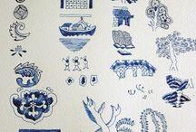 Blue willow handicraft
