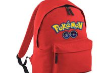 Red School Bag College Adjustable Backpack Pokemon Game Kids Fun Study Work Home