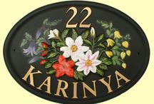 Flower designs for cast house signs / A small selection of our large range of raised flower designs -  All of these house signs shown are examples, which have been produced for our customers but can be used on a size and shape of your choice, with your personalised raised lettering and number.