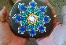 Mandalas painted on rocks