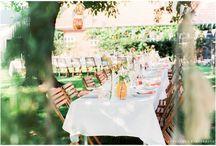 Rustic peach coloured outdoor wedding