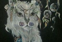 """Mes oeuvres. Série """"blanc de lune..."""" / A regarder avec les yeux du coeur... A lire comme un poème...  De kyanite et de rutile Se parsème l'âme animale."""