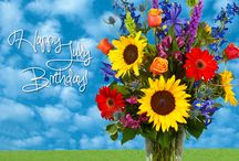 Happy July Birthday / People born in July are always fun to be around. They are forgiving, caring, and loving. They are witty and are known for their amusing banter. The July birth flowers are Larkspur and Delphinium, the July birthstone is the Ruby.
