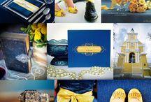 Trouwen geel blauw