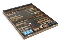 Mexico Backgammon Board / A private commission for a client with roots in Mexico.  Luxury backgammon board handmade with American black walnut with marquetry inlay cactus, printed and hand-painted playing surface, engraved turquoise and black marble playing pieces.  www.alexandralldesign.com/comm.php?comm=mexico