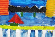 Children's Art - Urban Landscapes / The City - Collage Mixed Media Paintings by young children