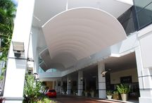 Hilton Downtown, Miami / These canopies were designed for newly renovated Downtown Hilton Miami.  The entire hotel was renovated to portray a stylish approach to South Florida cool.
