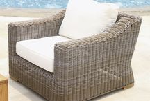 Douglas Nance Wicker Deep Seating / Hand-crafted from the finest all-weather materials. Woven with a premium extra-large 5mm fiber and wrapped around a powder coated aluminum frame, these pieces are heavier and more substantial than standard outdoor wicker furniture. All Monaco units come complete with outdoor cushions and use a new synthetic weave material that is closest to natural rattan. Teak feet contrast the exclusive driftwood color of the weave.