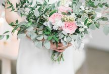 Wedding florals / Loose mixture of the following: silvery greens, ferns, succulents, ranunculus, peonies, and roses. The color palette is just a range of each of these: gray/silver, fern green, teal, lavender, lilac, mauve.
