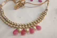 The beautiful bride in Pink!! / Beautiful pink and white beads finish the look of this gorgeous kundan necklace!!